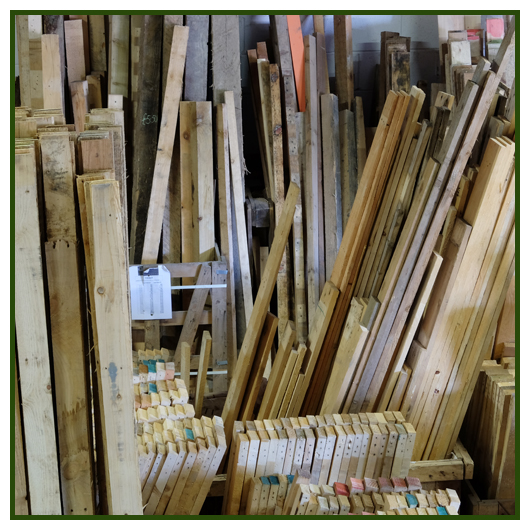 Recycled timber in the wood store at Green Estate Burton Street recycling facility in Sheffield