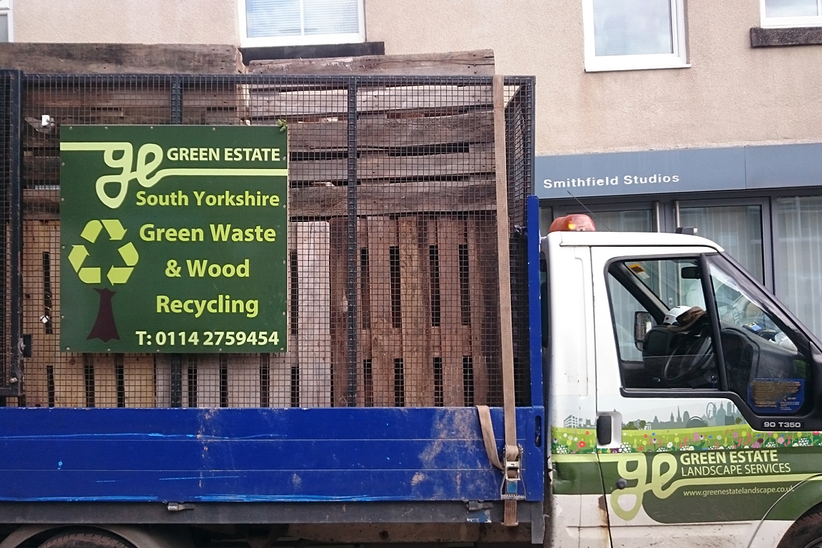 Green Estate industrial timber pallet collection from Burton Street Sheffield South Yorkshire