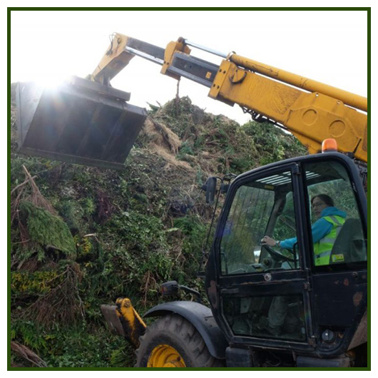 green waste being piled for composting at Manor Oaks Farm Sheffield green recycling facility