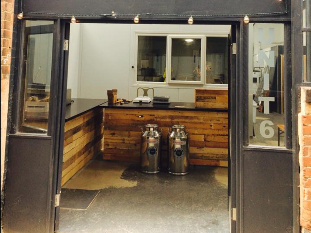 a local cheese factory counter built with reclaimed timber from Green Estate timber recycling shop