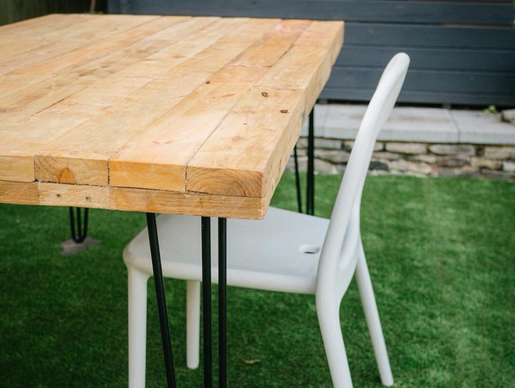 garden table built with reclaimed timber from Green Estate timber recycling shop