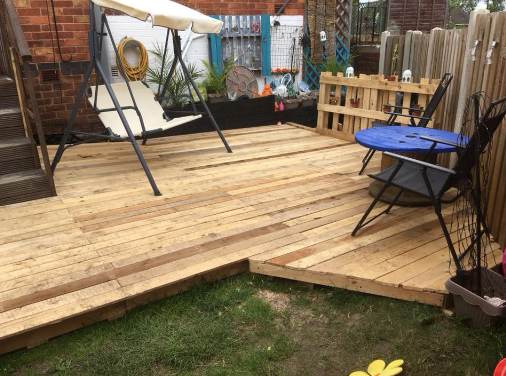 stylish garden decking built with reclaimed timber from Green Estate timber recycling shop
