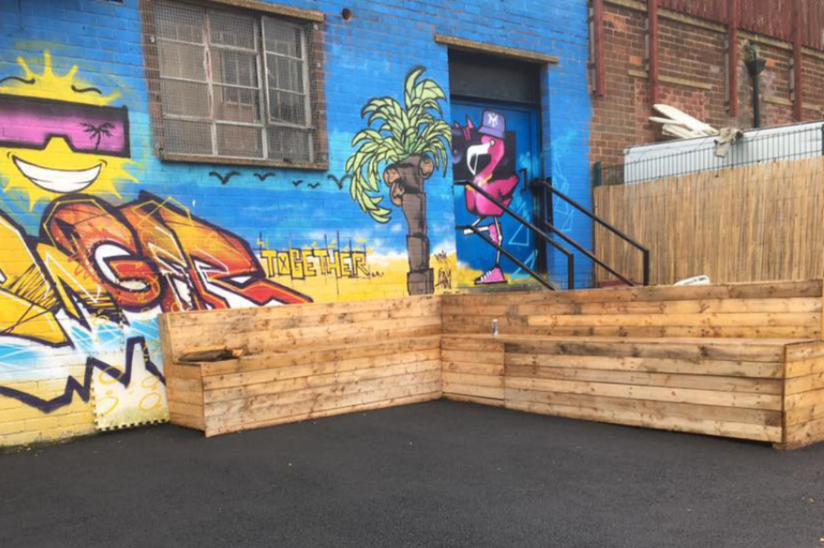 amazing outdoor seating built with reclaimed timber from Green Estate timber recycling shop