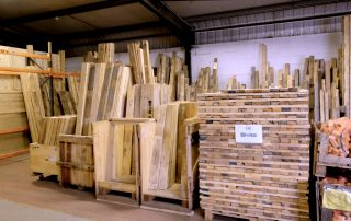 stacked and tidy timber at the recycling shop on Burton Street Sheffield South Yorkshire