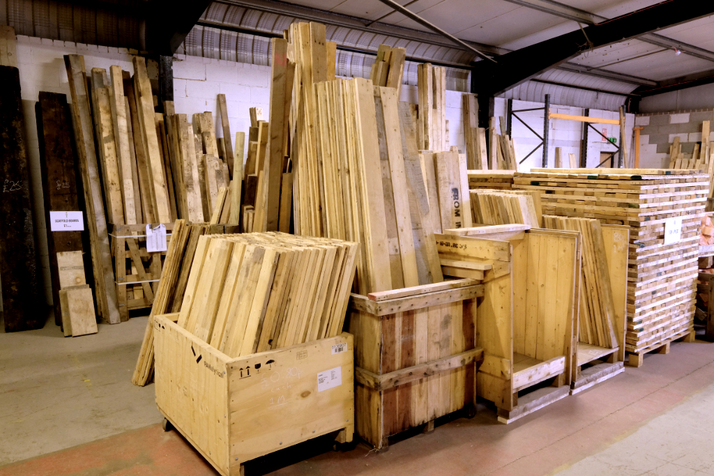 neat timber stacks at the recycling shop on Burton Street Sheffield South Yorkshire