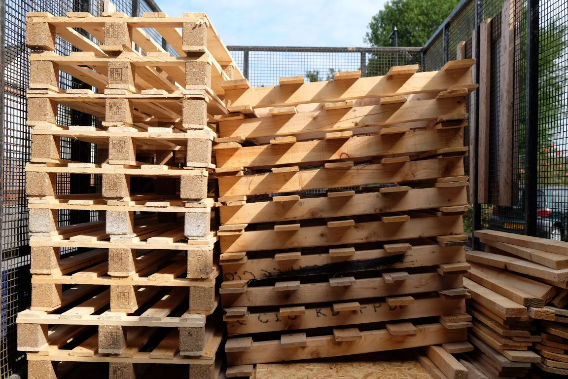 collected pallets awaiting dismantling at the Green Estate depot on Burton Street Sheffield