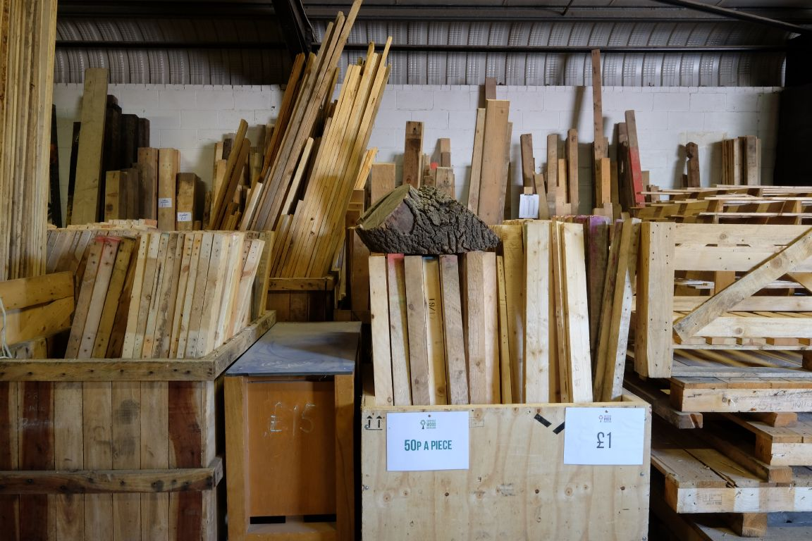 a wide variety of reclaimed wood available to buy here at the Green Estate recycling shop Sheffield South Yorkshire