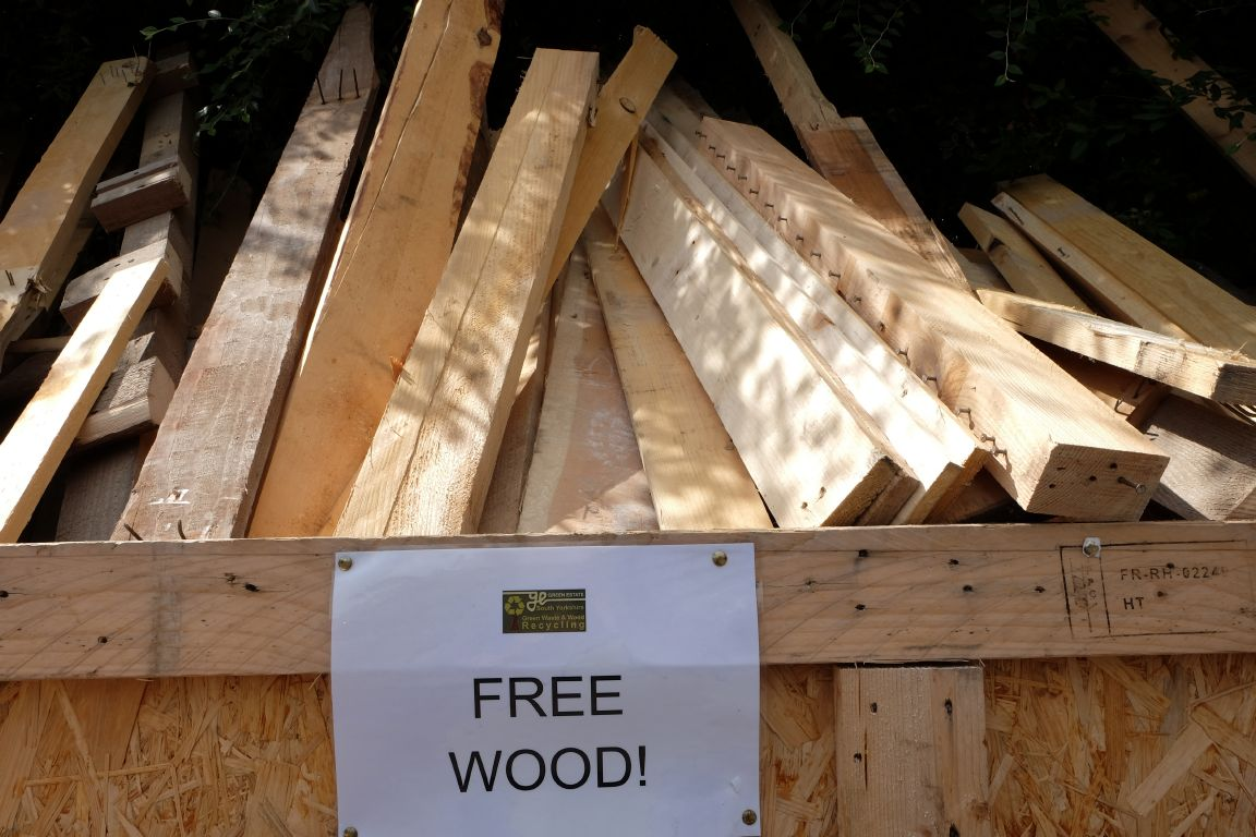wood offcuts and other reclaimed wood available at the Burton Street shop of the Green Estate wood recycling Sheffield South Yorkshire