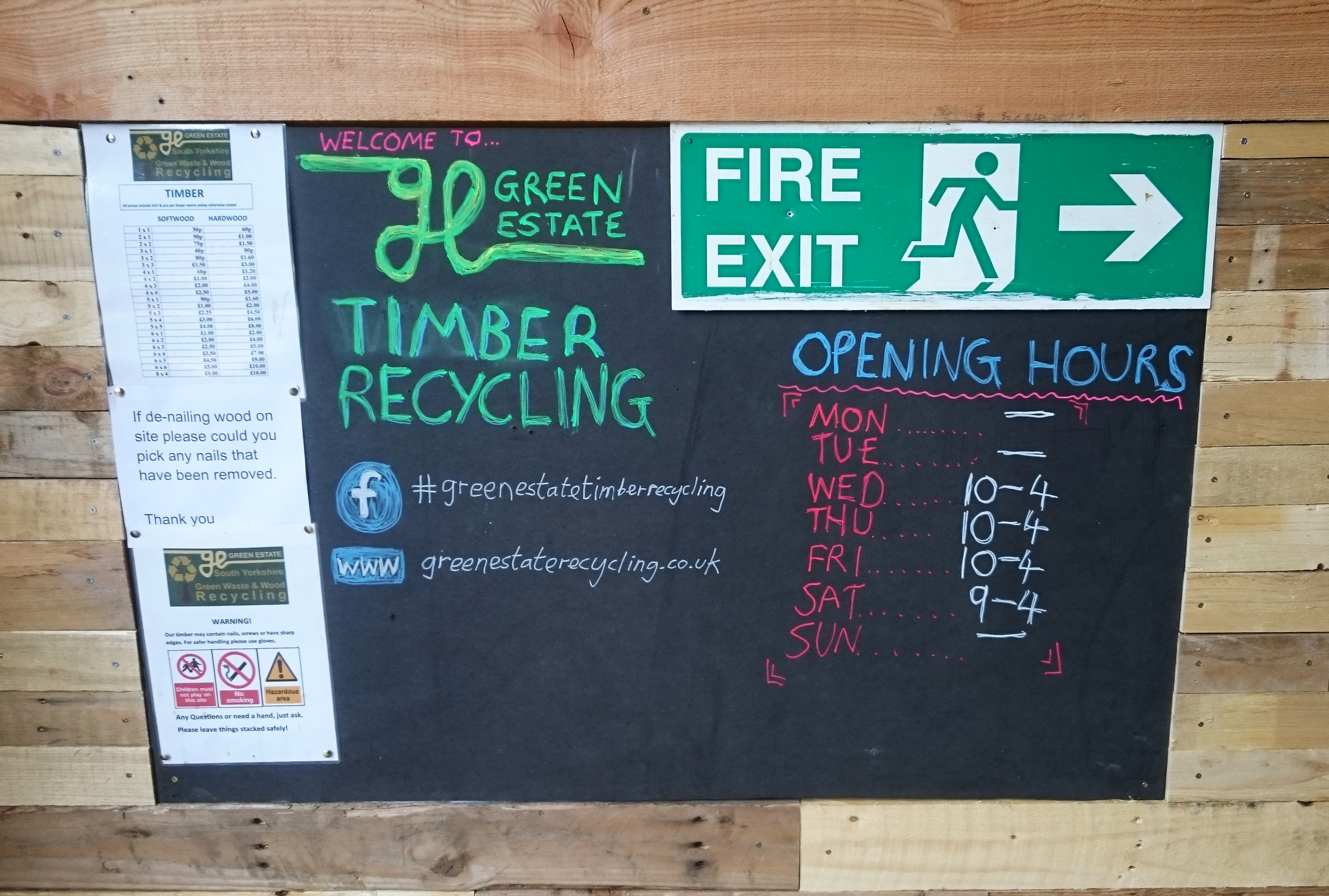 green estate timber shop counter and blackboard